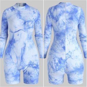 Blue Tie Dye Ribbed Romper